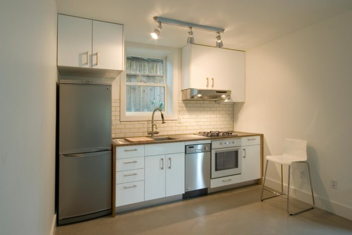 Kitchenette in Twin Studios Duplex Conversion
